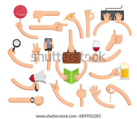 Hands in different poses. Big hand collection in flat style