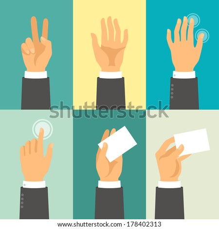Hands in flat design style. stock photo