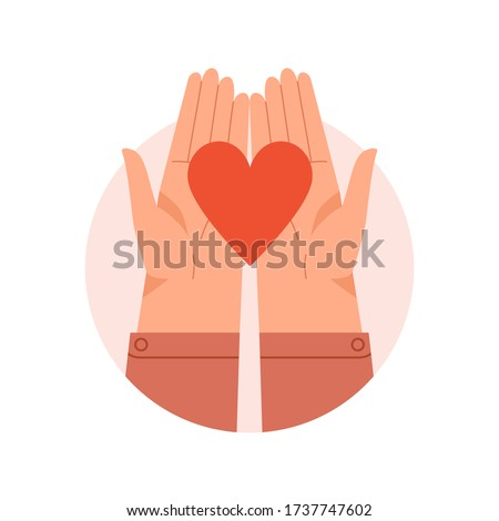 Hands in round isolated on white holding red heart. Vector illustration concept for sharing love, empathy, compassion, philanthropy, helping others, charity  Foto stock ©