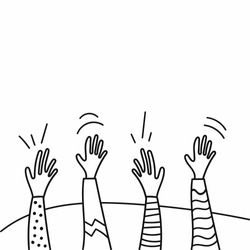 Hands in the air, hands up, high five, applause, hello. Hand drawn vector illustration. Comic or cartoon style