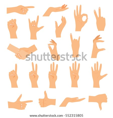 Hands in various gestures. Flat design modern vector illustration concept.
