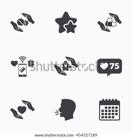 hands insurance icons health