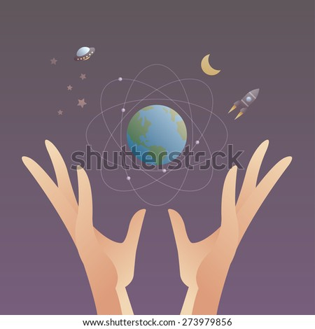 hands is holding earth and