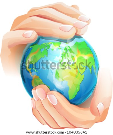 Hands is holding small earth