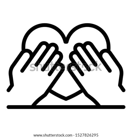 Hands keep heart icon. Outline hands keep heart vector icon for web design isolated on white background