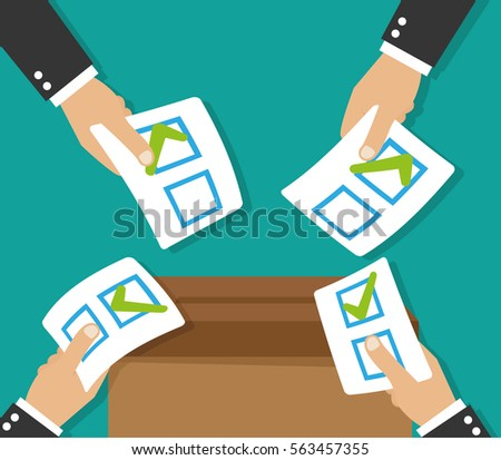 Hands leaving votes. Voting