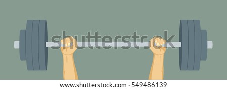 Hands lifted barbell weight. Barbell weight. Weightlifting training. Strength symbol. Flat vector illustration