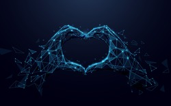 Hands making heart sign. Valentines day background. Abstract lines, triangles and particle style design. Illustration vector