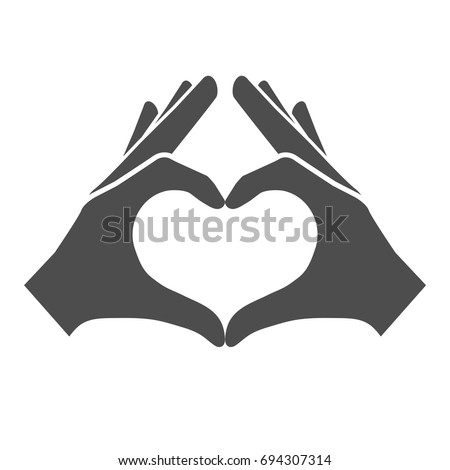 Hands making or formatting a heart symbol icon