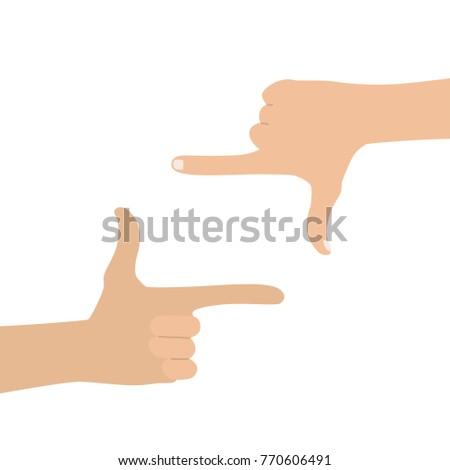 Hands making the cinema frame sign, vector illustration design. Hands collection.