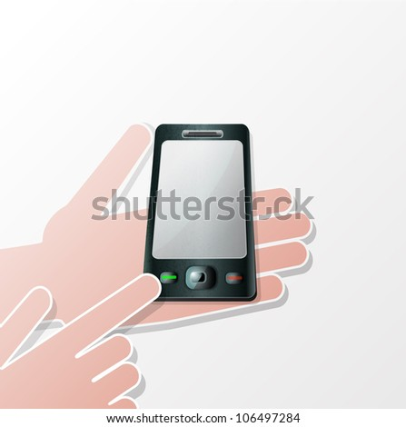 Hands Mobile smartphone with a blank screen. Isolated on white background.
