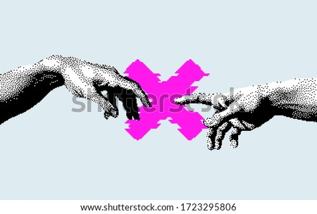 Hands not going to touch together. Concept of social distancing during COVID-19 and quarantine. Pixel art style illustration.