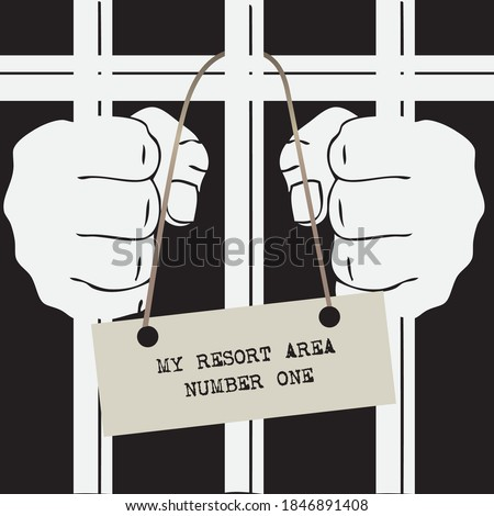 Hands of a prisoner on the prison bars. My resort area number one Stockfoto ©
