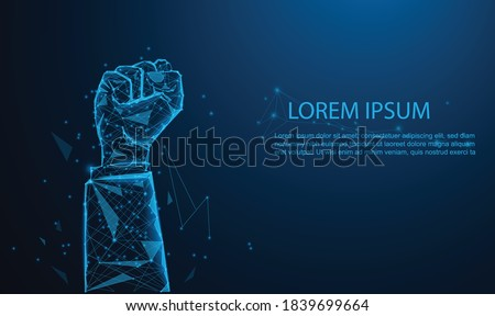 Hands of Business team raised fist air Corporate Celebration victory, success, and winning concept. glowing blue. Low polygon, particle, and triangle style design.Wireframe light connection structure. Foto stock ©