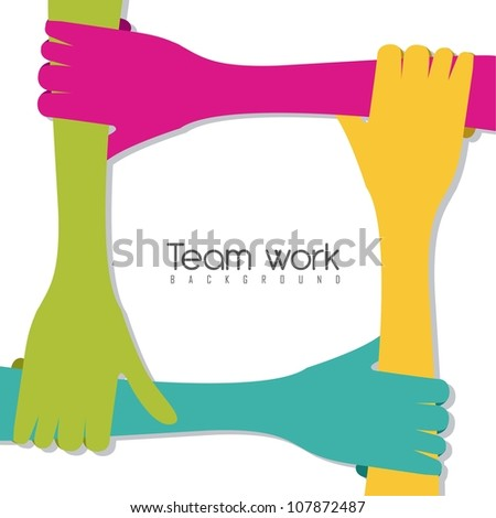 hands of different colors, cultural and ethnic diversity, team work. vector illustration
