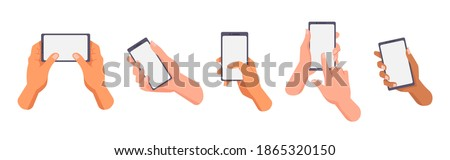 Hands of different races hold and use smartphones, blank display. Vector, european, afro american and asian people use mobile phones. Man or woman, multiethnic mixed-race users with modern gadgets