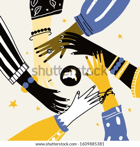 Hands of diverse group of people putting together. Concept of cooperation, partnership, agreement, teamwork, unity, togetherness, social community or movement. Flat cartoon vector illustration.