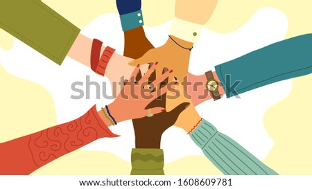 Hands of diverse group of people putting together. Concept of teamwork, cooperation, unity, togetherness, partnership, agreement, social community or movement. Flat style. Vector illustration