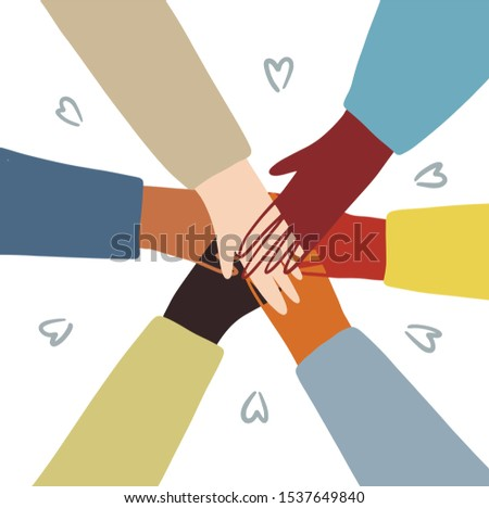 hands of diverse group of people putting together.Vector illustration . concept of togetherness, strength, teamwork, friendship and partnership