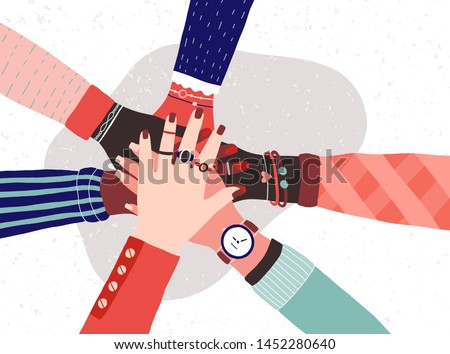 Hands of diverse group of women putting together. Concept of sisterhood, girl power, feminist community or movement, friendship, support and cooperation. Flat cartoon colorful vector illustration.