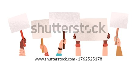 Hands of diverse woman hold empty banners with place for text vector flat illustration. Human arms at demonstration with placard isolated on white. Group of person with posters at protest meeting