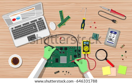Hands of engineer with digital multimeter check computer electronic circuit board. PC hardware. Components for personal computer. Service, recovery, warranty, fixing. Vector illustration in flat style