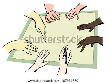 Hands of people from different races working together in unity, vector illustration, easy to edit layers