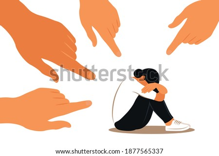 Hands of people point to the girl. Non-confident woman. Opinion and the pressure of society. Shame. Vector flat Сток-фото ©