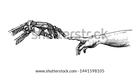 hands of robot and human hands
