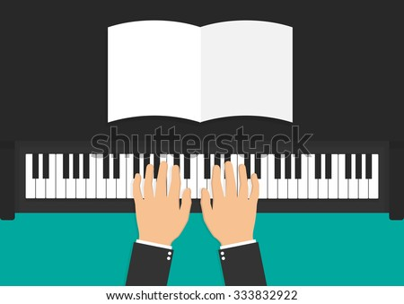 hands on piano keyboard with a