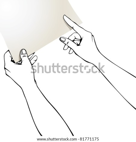 Hands pointing finger on blank paper, put there your text or photo, it can't be left such empty. Whole sheet is in clipping mask outside work area.