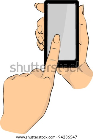 Hands pointing phone - stock vector
