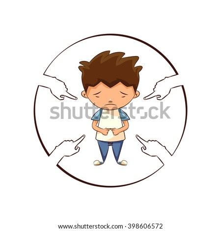Hands pointing sad child, vector illustration