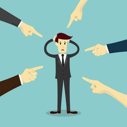 Hands pointing to blame businessman, business vector illustration