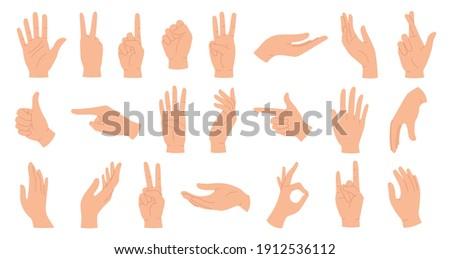 Hands poses. Female hand holding and pointing gestures, fingers crossed, fist, peace and thumb up. Cartoon human palms and wrist vector set. Communication or talking with emoji for messengers