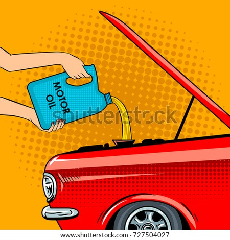 hands poured motor oil pop art
