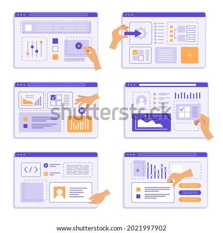 Hands programming. People team design studio creation app agency engineering device recent vector creative marketing templates collection