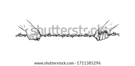 hands pull metal barbed wire