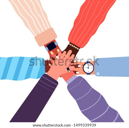 Hands putting together. People business cooperation, unity and teamwork. Stacked up friend hands, partnership community vector concept