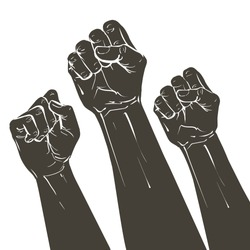 Hands raised air fighting for human rights. Fist up power Concept of protest, rebel, political demands, revolution, unity, cooperation, lives matter, don't give up. Crowd of people march. Vector.