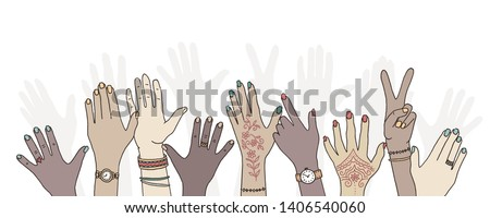 Hands raised up - hand drawn, diverse hands raised in the air