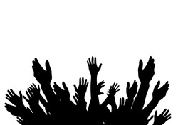 Hands Raised Up -  Symbol of Freedom the Choice, Fun. Vector Illustration. EPS10