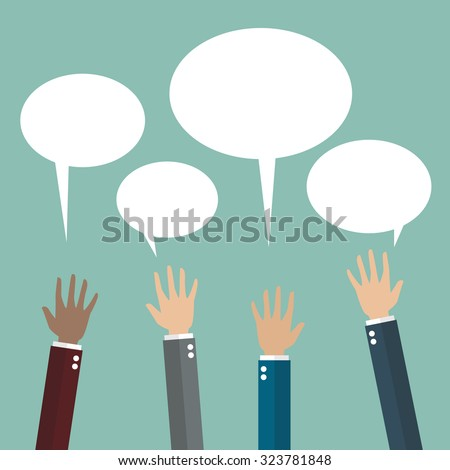 Hands raised with speech bubble. Flat style design