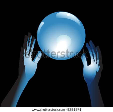 Hands reach for a shiny, crystal ball in blue glow, a backround for fortune, forecast, answers to questions.