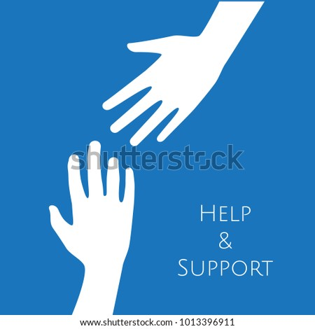 Hands reaching for help, support and hope icon logo vector graphic design.