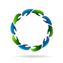 Hands reaching hands. Concept of teamwork, unity,community, friendly people.Vector icon