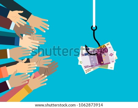 hands reaching out to get money