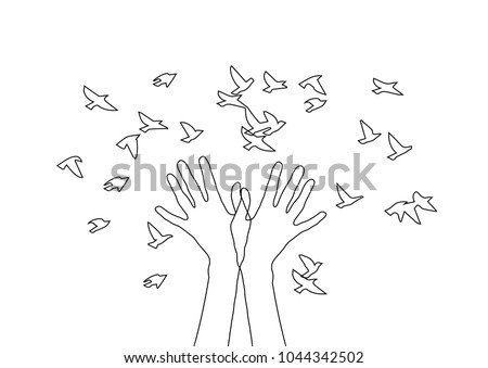Hands releasing a flock of birds. Spring design,vector spring
