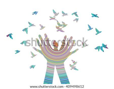 hands releasing a flock of
