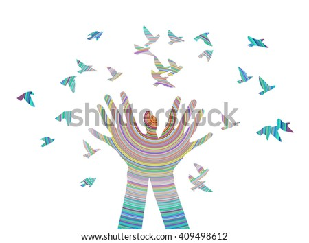 Hands releasing a flock of birds. Vector illustration